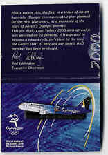 "Ansett Airlines ""A-320 Plane"" Pin on Card Australian Sydney 2000 Olympic Games"