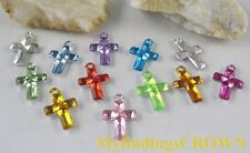 200 pcs Mixed colour cross acrylic charms W1772
