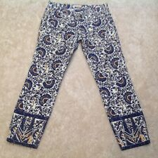 Tory Burch Size 31 Geometrical Floral Izzy Cropped Flat Front  Skinny Jeans