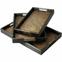 Set of 3 Dark Brown Wood & Woven Rattan Nesting Serving Tray with Cut-Out Handle