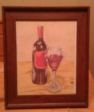 Framed original 8x10 still life drawing of wine bottle & glass done by ARTuro