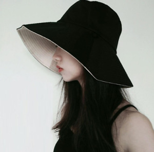 Foldable Bucket Hat Women Fishing Cap UV Protection Sun Hat Wide Brim Panama Hat