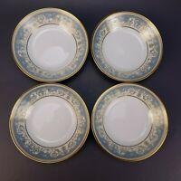 "4 pc NORITAKE #2045 Small Fruit/Sauce Bowls 5 1/2"" Blue & Gold Floral 1969-1986"