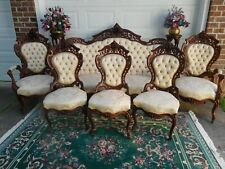 Attractive Victorian Laminated Rosewood J & Jw Meeks Stanton Hall Parlor Set