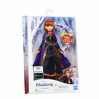 Disney Frozen2 Singing Anna Fashion Doll with Music Wearing a Purple Dress, New!