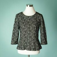 J Crew Medium Black Top Blouse Shirt Peplum Lace Knit 3/4 Sleeve Career Work
