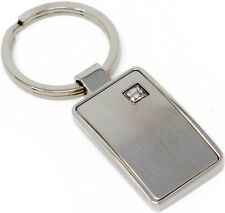Silver Matte Rectangle With Crystal Keychain