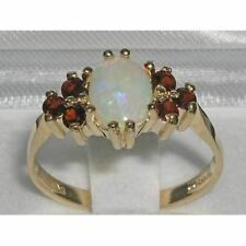 FINE QUALITY 9CT GOLD UNIQUE FIERY OPAL & VIBRANT GARNET RING - FULL UK HALLMARK
