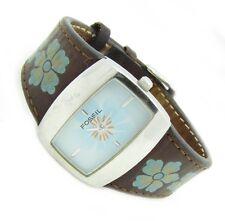 Fossil Damenuhr Armbanduhr Damen Uhr Edelstahl Leder blau Braun JR8348 3ATM N102