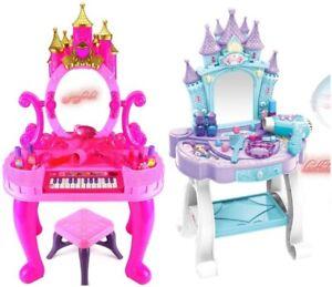 GIRLS PINK VANITY TABLE KIDS DRESSING MIRROR MAKE UP DESK TOY PLAY SET