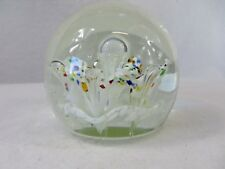 Art Glass Paperweight Sphere Globe Orb Air Bubbles Heavy #6666