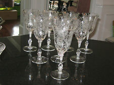 """Cambridge Crystal """"Wildflower """" Set Of EIGHT (8)  Water Goblets 3121 EXCELLENT"""