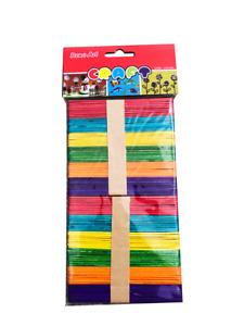 100pcs  Coloured Wooden Craft Sticks Paddle Pop Sticks 11.5cm x 1cm for school