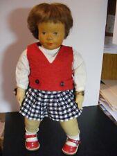 Early VTG E. German Hildegard Krahmer Carved Wooden Head/Cloth Body Girl Doll EC