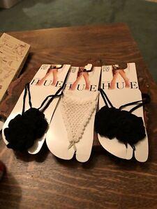 Thongs for barefeet Hue 3 pair, 2 crochet black flower, 1 white crochet ruffle