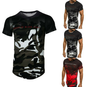 Camouflage Men's Casual Slim Short-sleeved T-shirts Round Neck Yoga Blouse Tops