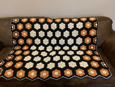 Vintage Granny Square Crocheted Afghan Black Orange Gold