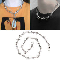 Punk Women Men Thorns Chain Pendant Choker Necklace Hip Hop Jewelry G QW