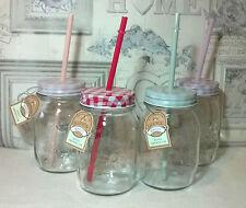 Mason Drinking Jars With Plastic Straw x 4 Party Glass Garden retro summer patio