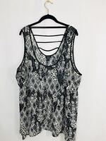 Torrid Women's Black & White Sleeveless Top W / A Symmetrical Hem Size 3