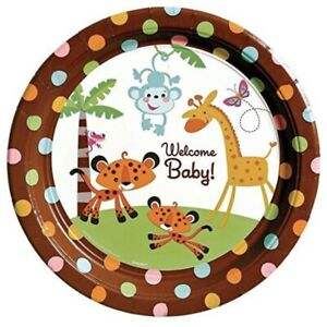 """Fisher Price Baby Shower Monkey Jungle 10.5"""" Banquet Dinner Plates, 8ct"""