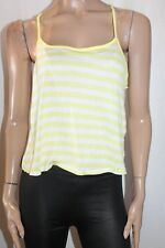 COTTON ON Brand White Yellow Striped Emma Crop Top Size L BNWT #TF77