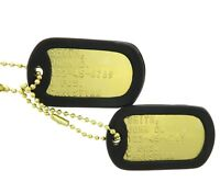 Custom Embossed Military Brass Army Navy USMC AF ID Dog Tags Set