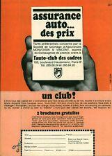 Publicité ancienne assurance auto l'auto club des cadres 1968