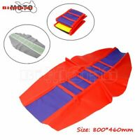 DirtBike Motorcycle Dust-Proof Gripper Soft Rubber Seat Cover Universal RED+BLUE