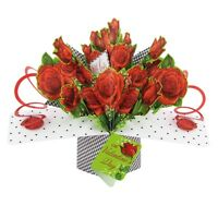 With Love On Valentine's Day Pop-Up Roses Greeting Card 3D Pop Up Cards