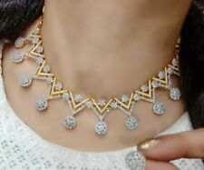 Indian American Diamond Triangle Necklace Multi Stone Gold Plated Earrings Love