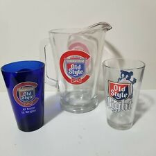 Chicago Cubs Old Style Beer Heavy Duty Glass Beer Pitcher with 2 Glasses