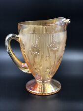 "1930 00006000 's Jeannette Iris & Herringbone Marigold Depression Glass Pitcher 9"" Tall"