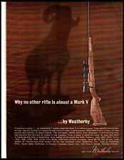 1964 Weatherby Mark V 5 Rifle Big Horn Sheep Shadow Vintage Print Ad