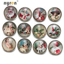 12pcs/lot Vintage Christmas 18mm Chunk Snap Button For Snaps Jewelry KZ0479