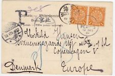 CHINA 1904 Postcard Cover Dragon 1c pair to Denmark Postage Due, RARE!