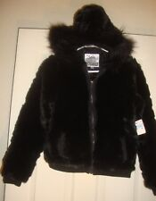 JUSTICE~girl's~BLACK/FAX/FUR/HOOD/LINED/JACKET/w/POCKETS! (14) NWTAGS! @@ $69.00