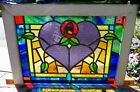 Victorian heart rose leaded stained glass window