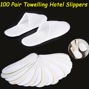 100 Pairs SPA HOTEL GUEST SLIPPERS TOE TOWELLING DISPOSABLE WHITE CLOSED TOE
