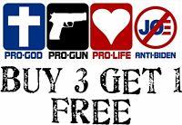 "Anti Joe Biden Pro God Pro Gun Pro Life Anti Biden Bumper Sticker 8.7"" x 3"""