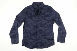KARL LAGERFELD LM9W3068 CAMO MILITARY BLUE MEDIUM STRETCH BUTTON FRONT SHIRT NWT