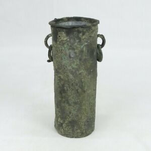 D0060: Very old Japanese tasteful copper hanging flower vase over 200 years ago