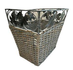 Vtg Wicker Basket trash can waste Metal leaves grey 11x8x10 cottage core 90's