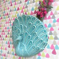 Deco Ceramic Glazed Turquoise Peacock Wall Vase Art Ornament by Gisela Graham