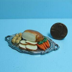 Dollhouse Miniature Turkey Dinner with Potatoes & Carrots on Platter IM66024