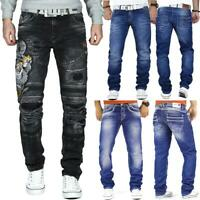 Herren Jeans Hose Denim Freizeit Regular Cargo Slim Fit Designer Black Tiger Top