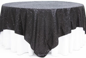 """Sequins Table Overlay 54""""X 54"""" Sparkly Tablecloth 4 Colors Wedding Cake Made USA"""
