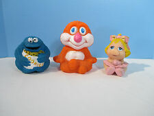 Squeaky Toys Muppets Baby Miss Piggy Gabriel Cookie Monster Vintage Lot of 3