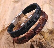 Lot 2pc New Hemp Wrap Leather Handmade Mens Wristband Bracelet Cuff Black Brown