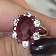 Colleen Lopez Sterling Silver Red Corundum, Ruby & White Topaz Gemstone Ring